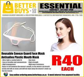 Reusable Sneeze Guard Face Mask – Antisaliva Plastic Mouth Mask – R40.