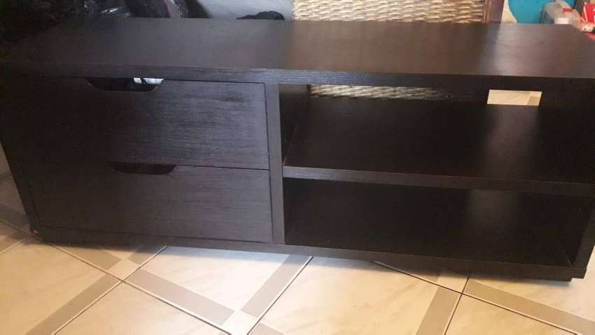 Dark wood Plasma TV unit:  120cm length x 39cm breath x 45cm height.65 0