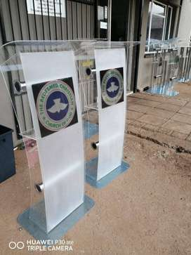 C Shape Full Frosted Front Clear Body Podium