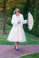 Свадебное платье(длина миди),можно для выпускного