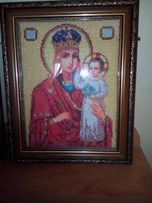 Икона картина Матерь божья вышита бисером