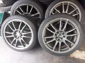 A set of rims and tyres size 205/40/17 pcd 4/100 for sale