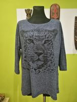 Bluzka C&A rozmiar XL, motyw zwierzęcy granatowy melanż