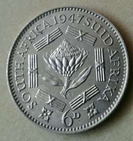 Scarce 1947 S.A proof silver sixpence (mintage 2600)
