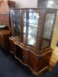 Image of Wooden Curved Glass Cabinet
