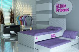 Łóżko piętrowe dla dzieci, dziewczynek, tkanina+skóra, szybka dostawa