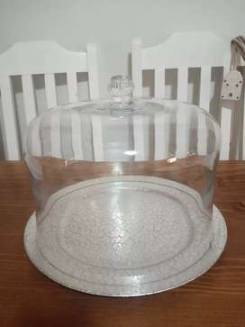 Glass cake domed server with silver plate