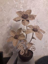 Топиарий-цветы из мешковины,поделки