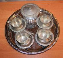 Продам новый чайный набор - мельхиор, стекло, 80 г.г. (в г.Киев)