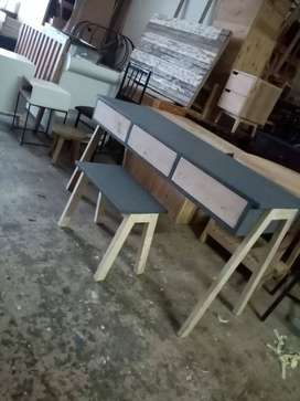 Office work station desk Oregon wood raw or painted( Custom made