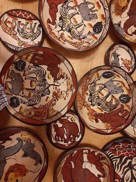 Wooden African decorated plates