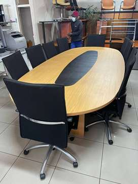 Lovely 10 Seater boardroom table with 10 Executive Chairs