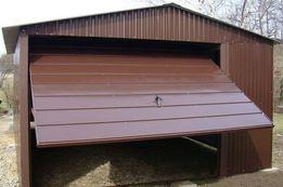 Garaże blaszane Brąz 4x6 Poziomy Panel Bramy Garaż Blaszak Dwuspadowy