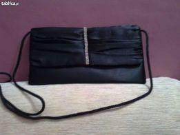 torebka czarna satynowa z dżetami
