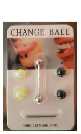 Funky and Colourful 8Pc Bar Bell Tongue Navel Lip Ring Set ( 8Pc )