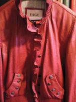 Курточка кожаная женская. Цвет коралловый. Размер XL