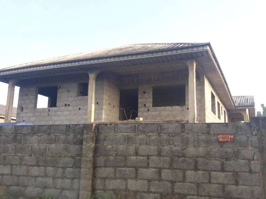 Uncompleted Storey Building with Aluminum Roofing along Adefisan Road 0