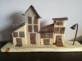Dekoracja z drewna ozdoba domki uliczka wystrój 4