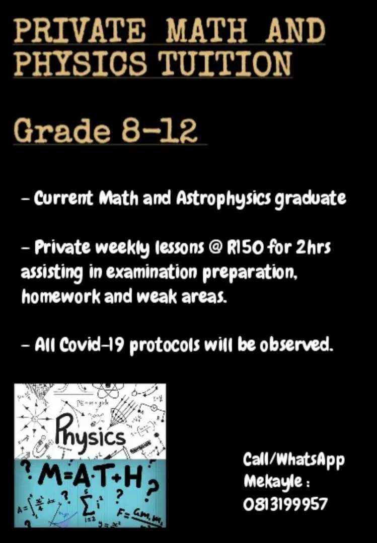 Grade 8-12 Math and Physics tuition 0