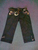spodnie damskie-rybaczki, 36, czarny struks, złote aplikacje, nowe