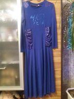 Платье нарядное синее, размер S 46-48