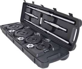 Dumbbell and barbell set with weights and case