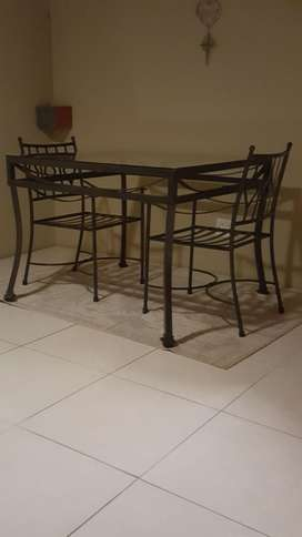Wrought Iron Table with Glass Top