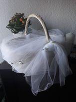 Biały koszyk do upominków, kopert, wódki ślub komunia ostateczna cena!