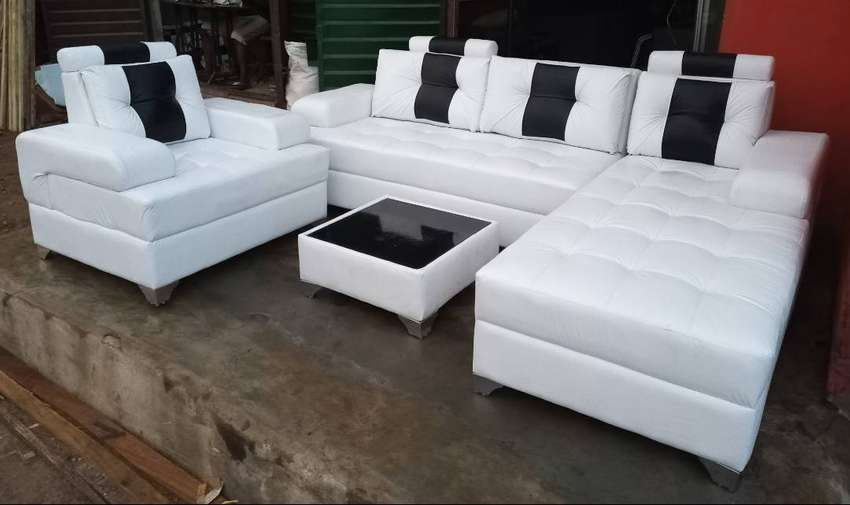 L-shape sofas, a single seater chair and centre table - white couches 0
