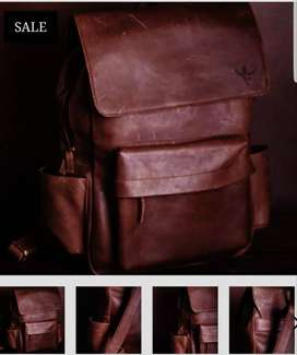 Fine leather backpack