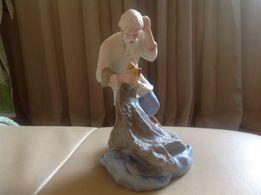 статуэтка Старик и золотая рыбка фарфор
