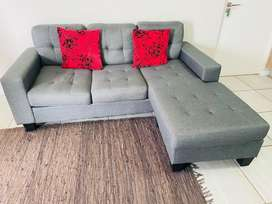 Grey 3 Seater Corner Couch