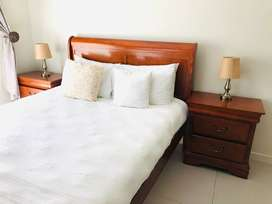 Sleigh Bed King with pedastals