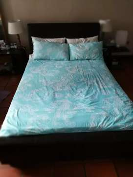 Extra length double bed frame and mattress for sale.