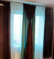 Тюль через 2 окна