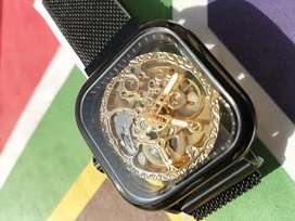 Brand New PVD Black skeleton automatic watch for sale