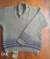Теплый мужской свитер крупной вязки, новый