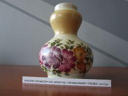Wazonik ceramiczny szkliwiony / ręcznie malowany / POLSKA