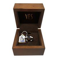 YES Pierścionek z białego złota diamenty, szafir 585 - używany