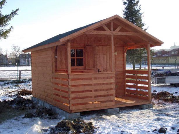 Domek drewniany rekreacyjny działkowy ogrodowy 3x4,5m z tarasem Dukla - image 1