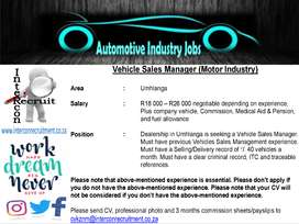 Vehicle Sales Manager (Motor Industry) Umhlanga