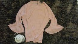 Koszula tiulowa pudrowy róż szerokie rękawy