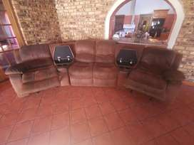Soft Leather Entertainment Lounge Suite with 2 Lazy Boyz