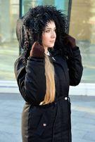 Зимняя женская куртка парка на меху черная (с ламой) Arvisa TM