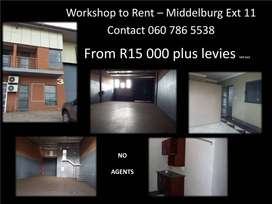 Workshop to rent - Direct from owner