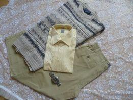 Zestaw paka paczka ubrań L XL spodnie sweter nowa koszula zegarek