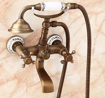 Смеситель кран в ванную комнату с лейкой бронза 0147