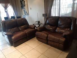 Genwine leather lounge suites.