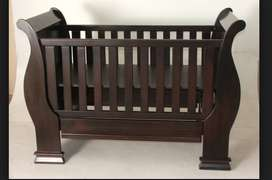 Wooden sleigh Cot with matching Compactum