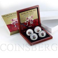 2007 лунары Год Свиньи набор из четырех монет по 1 унции серебра 999